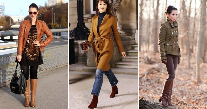 С чем носить коричневые сапоги на каблуке