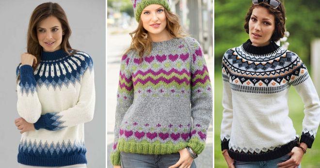 Raclan džemper sa jacquard obrascem