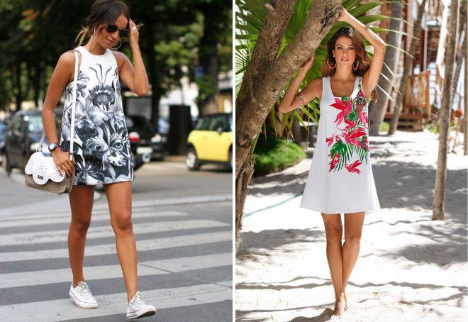 летнее платье а силуэта