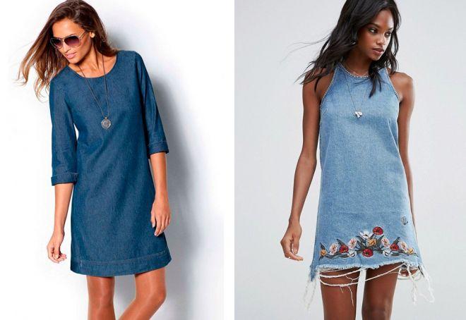 джинсовое платье а силуэта