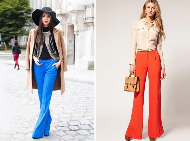 цветные брюки клеш