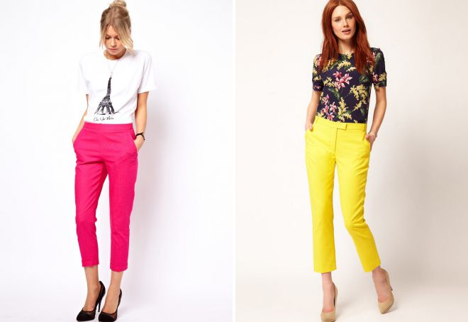 укороченные цветные брюки