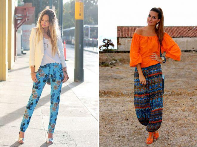 с чем носить цветные летние брюки