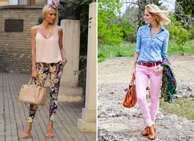 с чем носить женские цветные брюки
