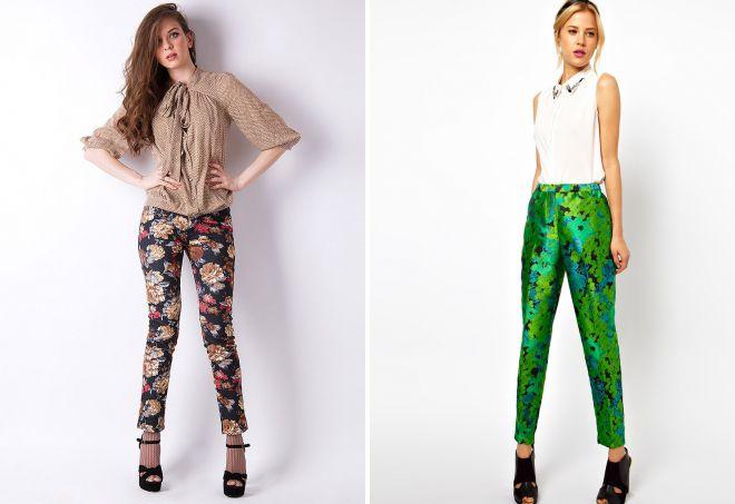 цветные брюки с принтом