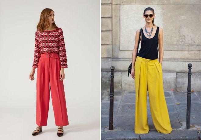 цветные брюки палаццо