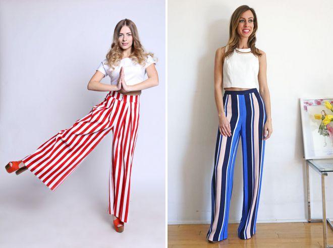 брюки в цветную полоску