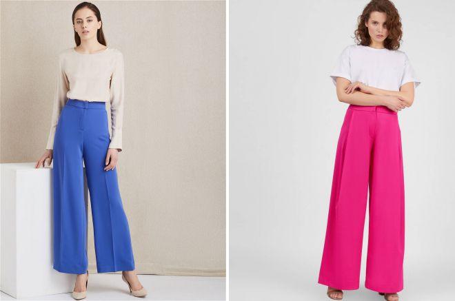 цветные широкие брюки
