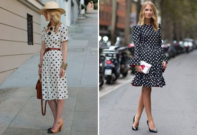 модные платья в горошек 2018