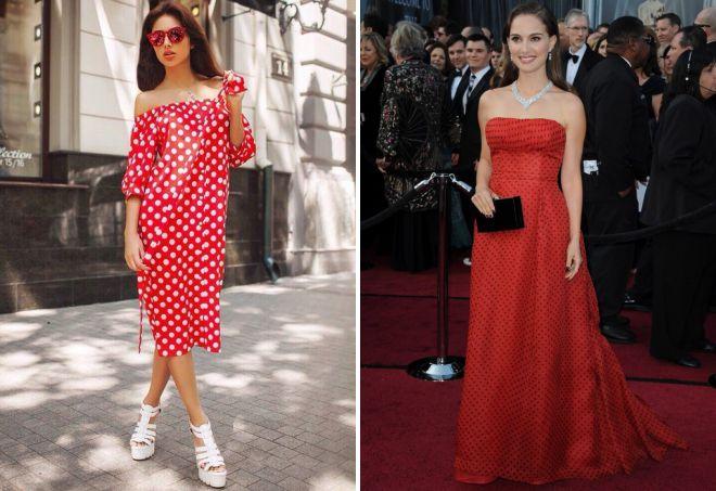 красное платье в горошек 2018