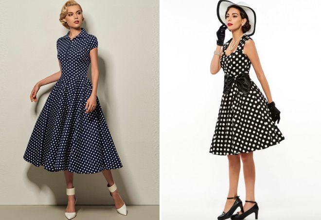 ретро платье в горошек