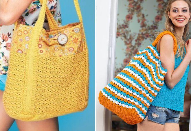 вязаные стильные модели сумок