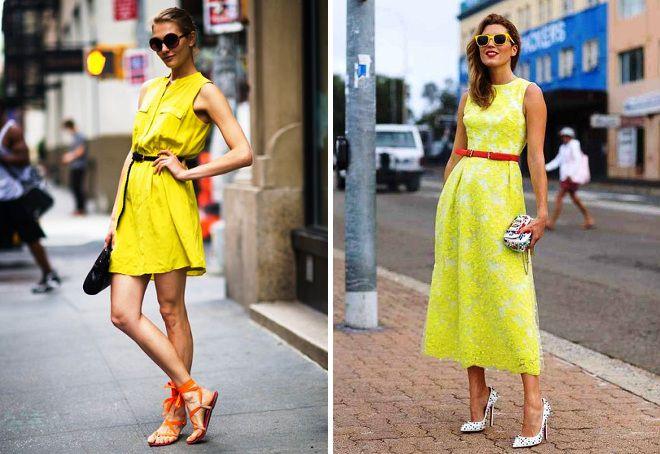 обувь к желтому сарафану