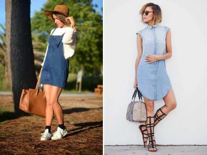 короткие женские джинсовые сарафаны