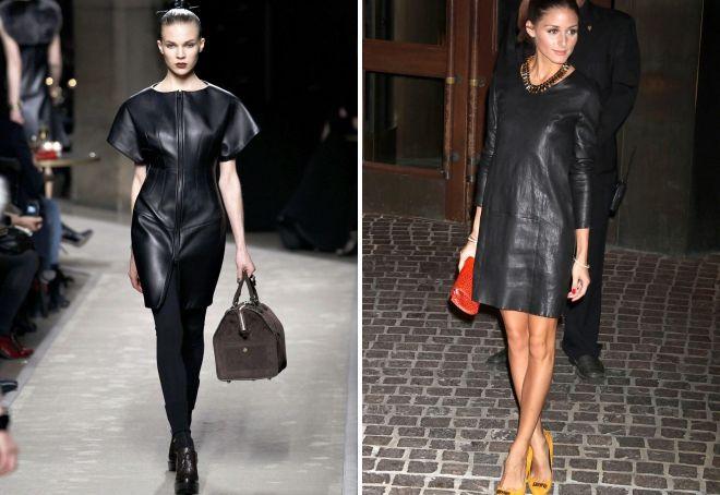 с чем носить черное кожаное платье