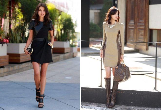с чем носить платье с кожаными вставками