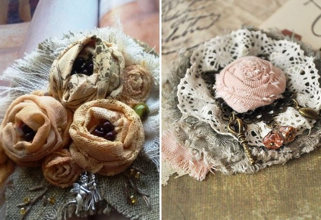 текстильная брошь в стиле бохо