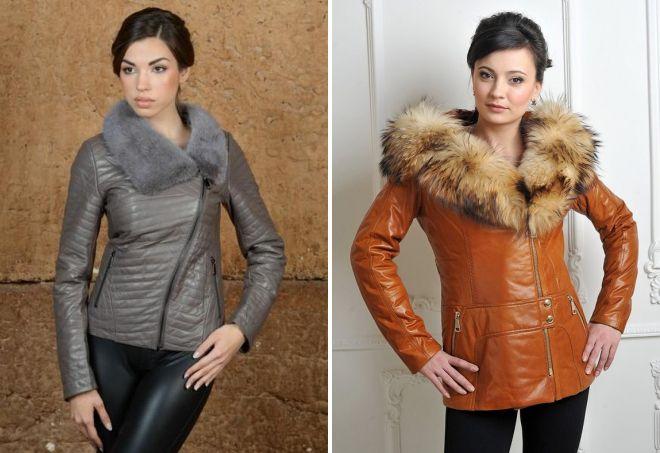 женские кожаные куртки с натуральным мехом