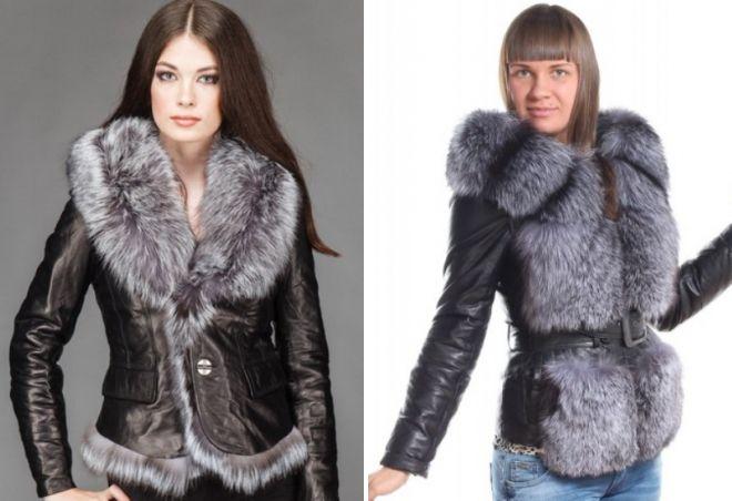 кожаные куртки с мехом чернобурки