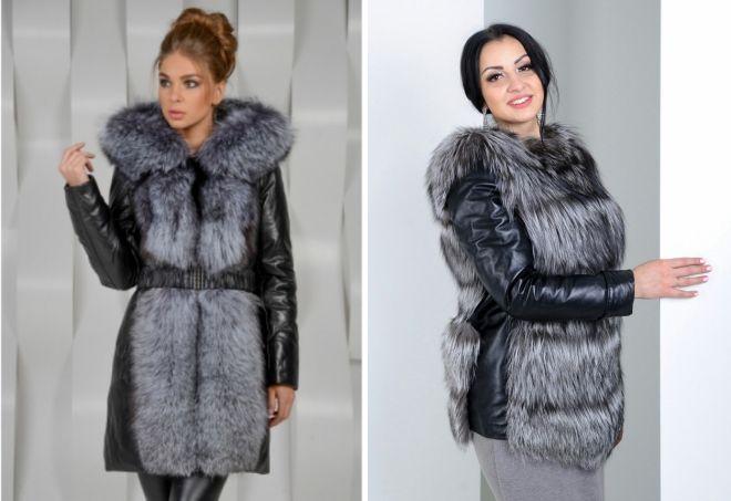 женская кожаная куртка с мехом чернобурки