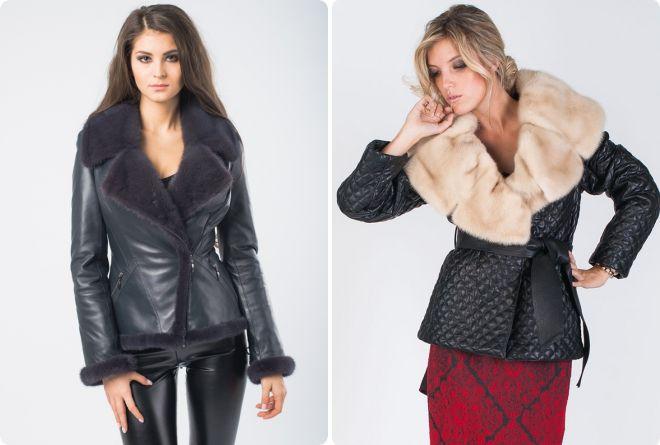 женская кожаная куртка с мехом норки