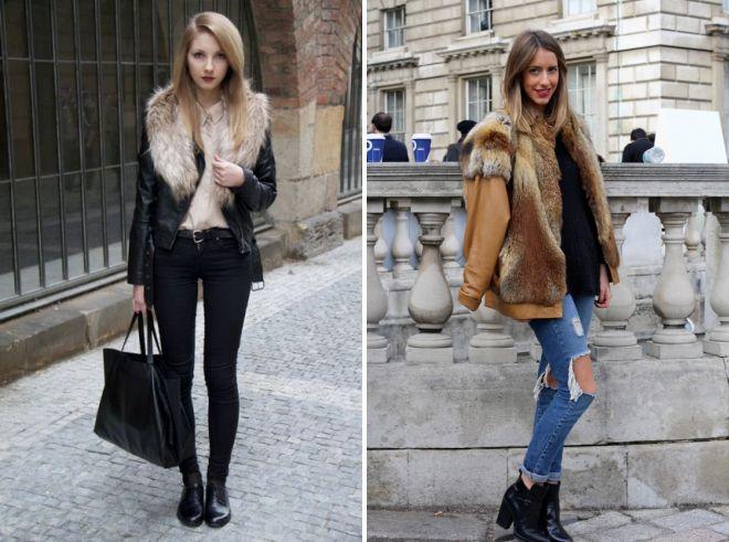 кожаная куртка с мехом с чем носить