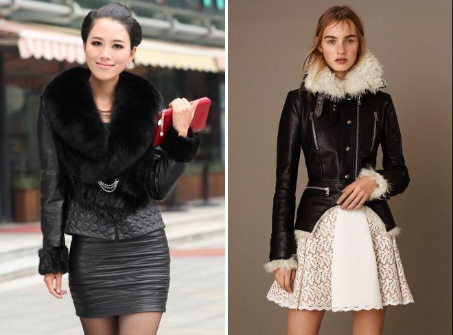 кожаные куртки с мехом модные образы
