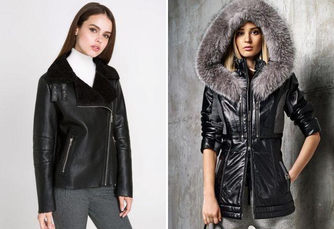 женская кожаная куртка с мехом овчины