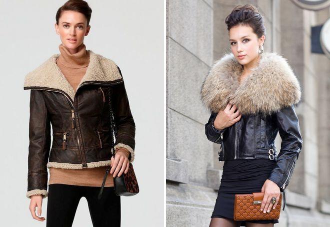 короткая женская кожаная куртка с мехом