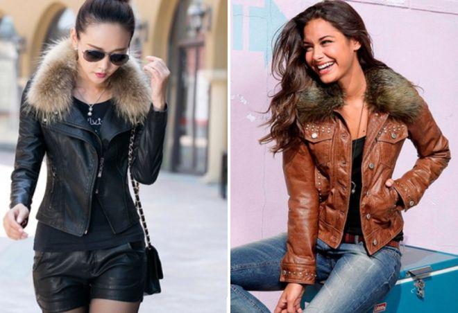 короткие кожаные куртки с мехом