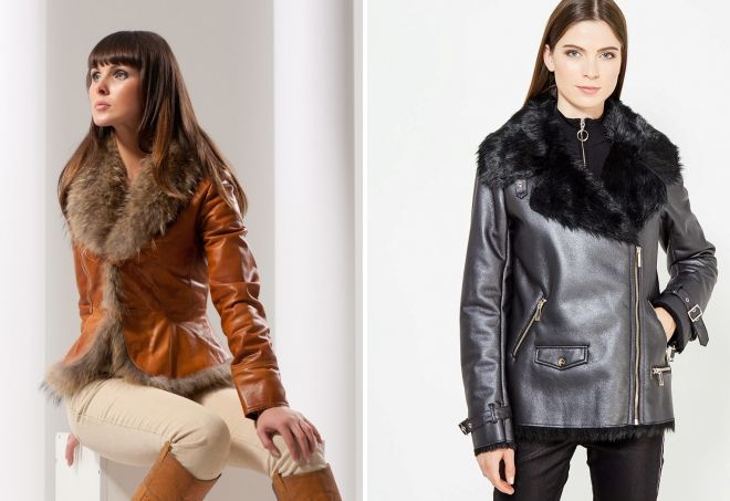 женские утепленные кожаные куртки с мехом
