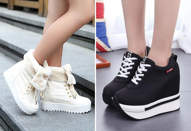 зимние кроссовки на платформе