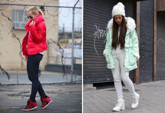 с чем носить зимние кроссовки