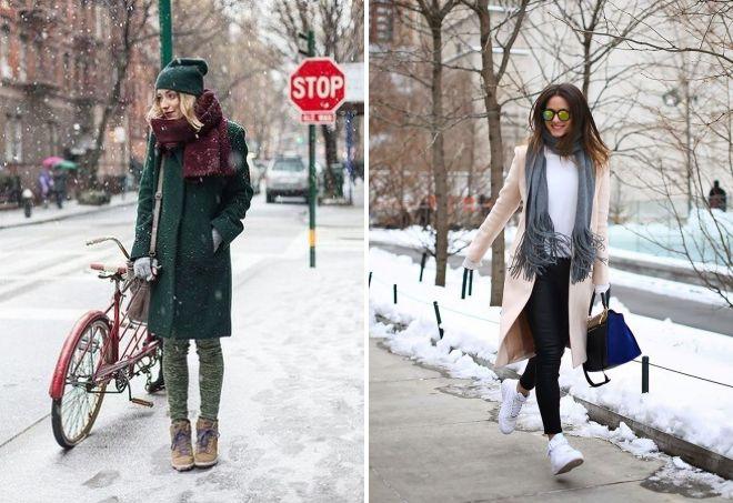 зимние кроссовки с пальто
