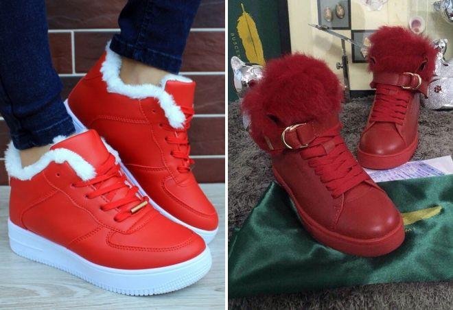 кожаные зимние женские кроссовки