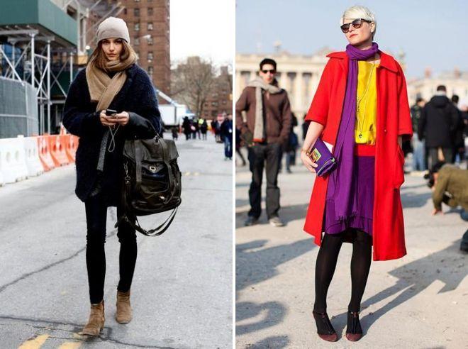 пальто оверсайз с шарфом