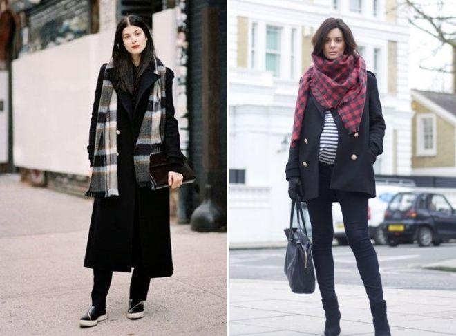 шарф под черное пальто