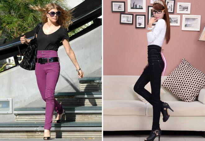 джинсы с высоким поясом корсетом