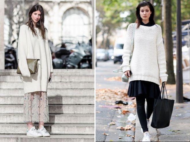 объемный белый свитер