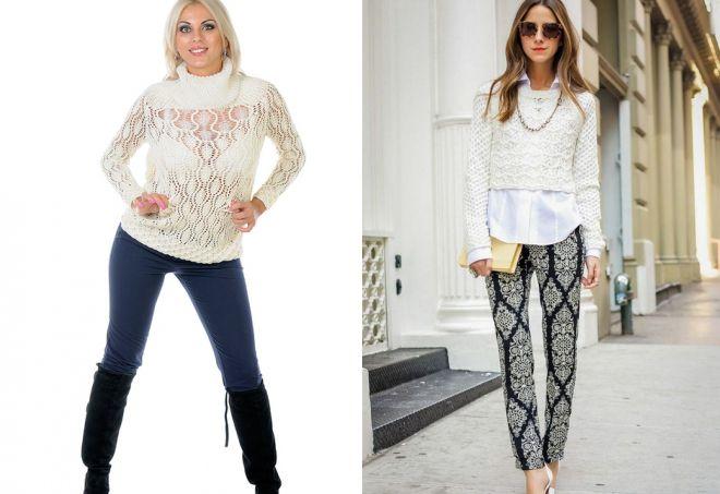 ажурный белый свитер