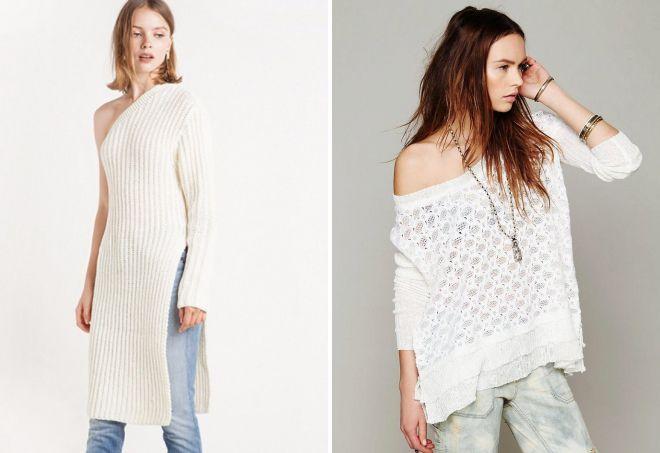 белый свитер на одно плечо