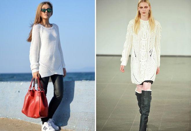 белый длинный свитер