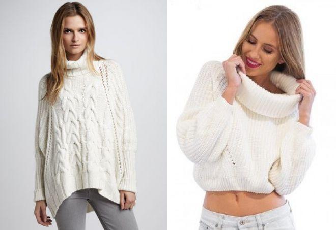 белый свитер с горлом