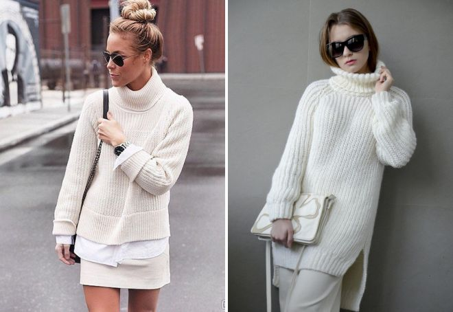 женский белый свитер с горлом