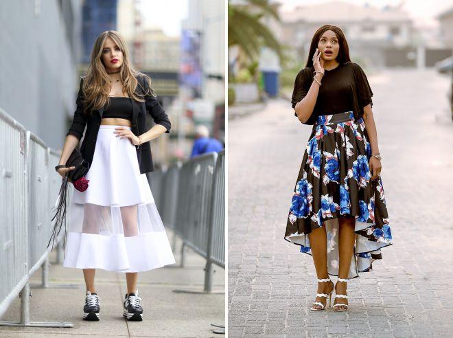 юбка клеш с чем носить