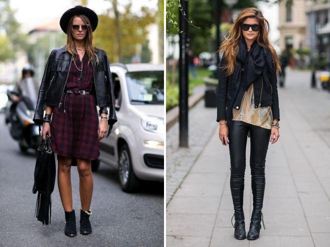 с чем носить черную кожаную куртку косуху