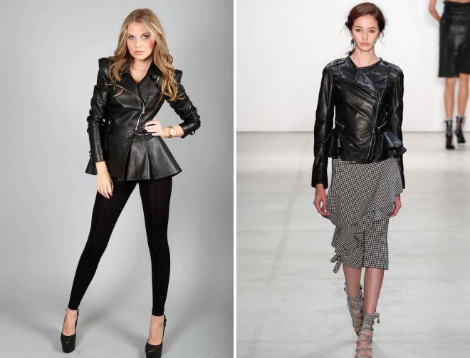 кожаная модная куртка с баской с чем носить