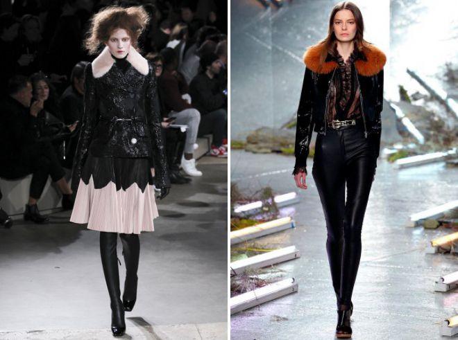 с чем носить модную кожаную куртку с мехом