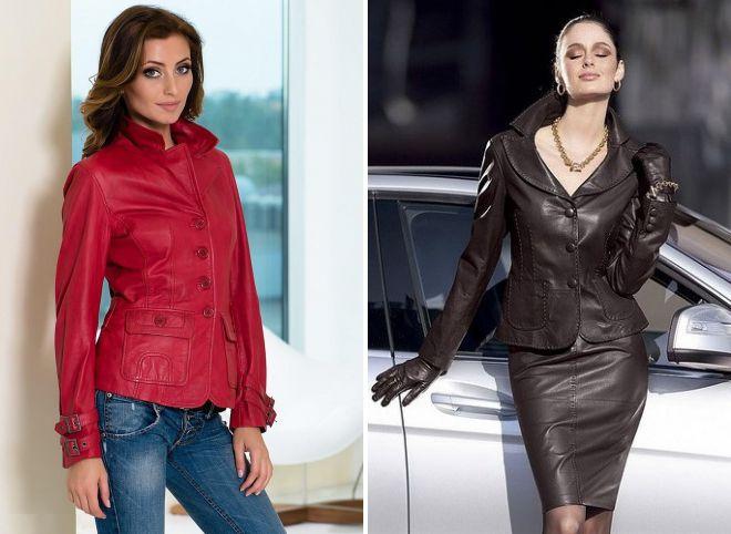 с чем носить кожаную куртку пиджак