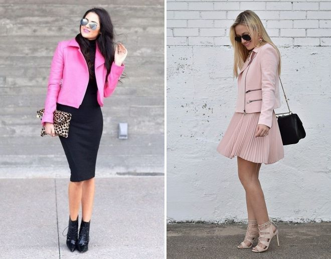 образы с розовой кожаной курткой